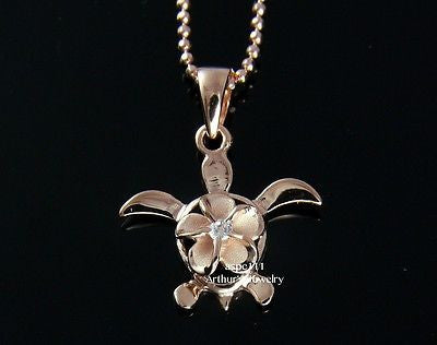 SILVER 925 HAWAIIAN PLUMERIA FLOWER HONU TURTLE PENDANT PINK GOLD PLATED CZ