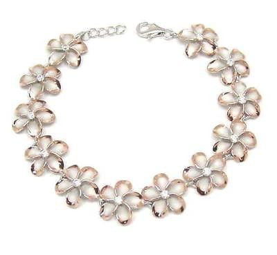 15MM SILVER 925 HAWAIIAN PLUMERIA BRACELET RHODIUM PINK ROSE GOLD PLATED 2 TONE