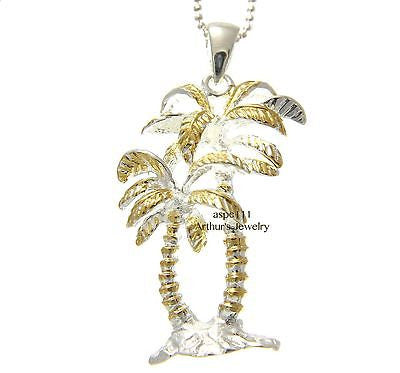 SILVER 925 HAWAIIAN TROPICAL DOUBLE PALM TREE PENDANT YELLOW GOLD PLATED 2 TONE