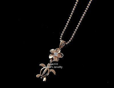 PINK ROSE SILVER 925 HAWAIIAN PLUMERIA FLOWER DANGLE HONU SEA TURTLE PENDANT