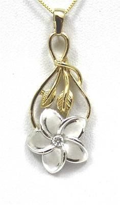 15MM 14K WHITE GOLD HAWAIIAN PLUMERIA FLOWER MAILE LEAF DESIGN PENDANT CZ