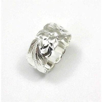 10MM SILVER 925 HAWAIIAN RING PLUMERIA FLOWER SCROLL SCALLOP CUT OUT EDGE