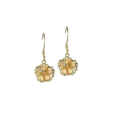 SILVER 925 YELLOW GOLD PLATED HAWAIIAN HIBISCUS FLOWER DANGLE EARRINGS HOOK 10MM