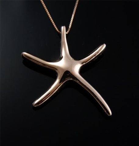 SOLID 14K PINK ROSE GOLD SHINY HAWAIIAN SEA STAR STARFISH SLIDE PENDANT 26MM