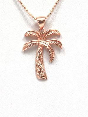21MM PINK ROSE GOLD PLATED SILVER 925 HAWAIIAN PALM TREE SCROLL PENDANT CHARM