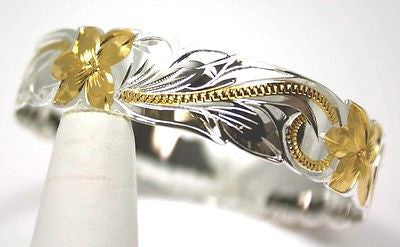 SILVER 925 HAWAIIAN BANGLE BRACELET PRINCESS PLUMERIA SCROLL CUT OUT 15MM 2 TONE