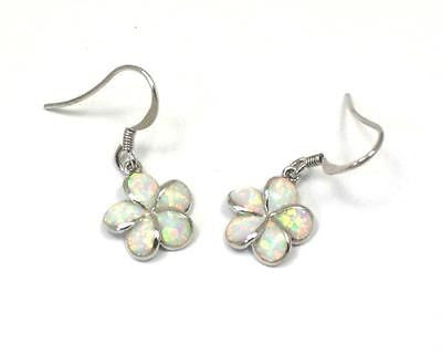 INLAY OPAL 12MM HAWAIIAN PLUMERIA FLOWER DANGLE WIRE HOOK EARRINGS SILVER 925
