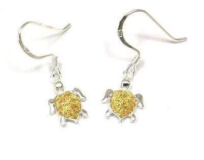 10MM SILVER 925 HAWAIIAN HONU SEA TURTLE DANGLING EARRINGS WIRE HOOK YELLOW 2T