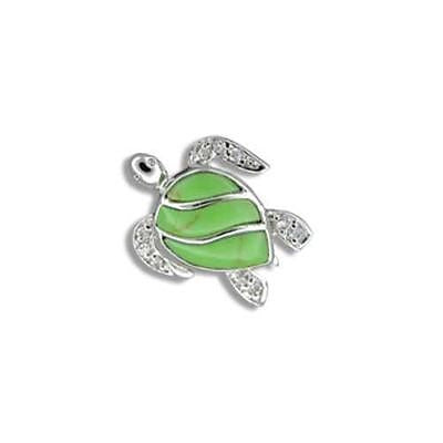 15MM SILVER 925 GREEN TURQUOISE HAWAIIAN HONU TURTLE PENDANT CZ RHODIUM