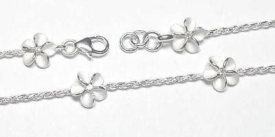 SILVER 925 HAWAIIAN PLUMERIA ROPE CHAIN ANKLET 9""