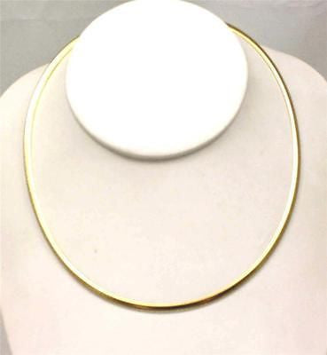 "3MM YELLOW GOLD SILVER 925 ITALIAN REVERSIBLE OMEGA NECKLACE CHAIN 16"" 18"" 20"""