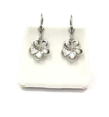 13MM SOLID 14K WHITE GOLD HAWAIIAN FANCY PLUMERIA FLOWER EARRINGS LEVERBACK