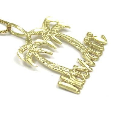 14K SOLID YELLOW GOLD LARGE DIAMOND CUT HAWAIIAN PALM TREE HAWAII PENDANT CHARM