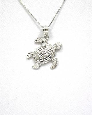 14K SOLID WHITE GOLD SPARKLY DIAMOND CUT SIDE HAWAIIAN SEA TURTLE HONU PENDANT M