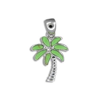 14MM SILVER 925 GREEN TURQUOISE HAWAIIAN PALM TREE PENDANT RHODIUM
