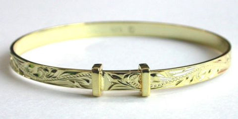 SILVER 925 HAWAIIAN BABY BANGLE BRACELET PLUMERIA PRINCESS SCROLL YELLOW 4MM