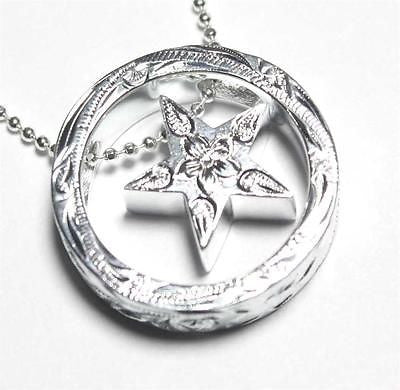 THICK HEAVY SILVER 925 HAWAIIAN SCROLL CIRCLE STAR PENDANT