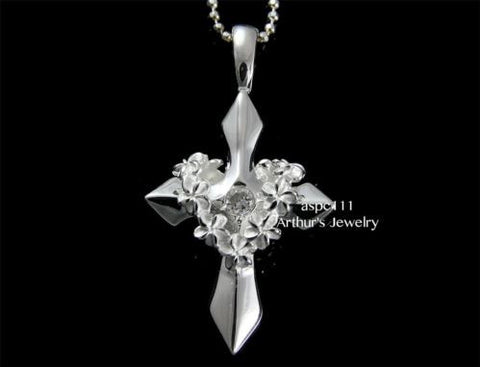 STERLING SILVER 925 HAWAIIAN HIGH POLISH SHINY CROSS PLUMERIA FLOWER LEI PENDANT
