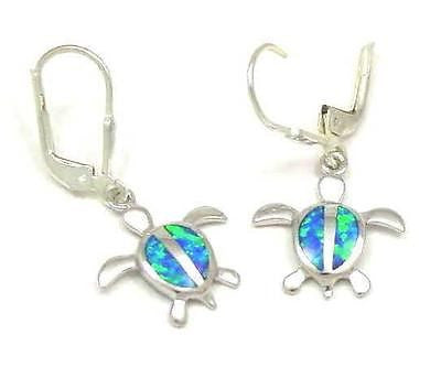 925 SILVER RHODIUM INLAY OPAL HAWAIIAN HONU TURTLE EARRINGS LEVERBACK EARRINGS
