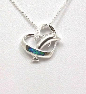 INLAY OPAL STERLING SILVER 925 HAWAIIAN DOLPHIN JUMPING THRU HEART PENDANT CZ