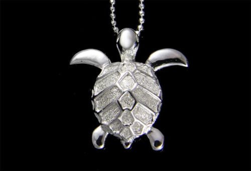 STERLING SILVER 925 HAWAIIAN SEA TURTLE SLIDE PENDANT 19.5MM