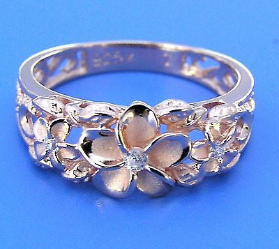 ROSE GOLD PLATED SILVER 925 HAWAIIAN 3 PLUMERIA FLOWER RING MAILE CUT OUT SCROLL