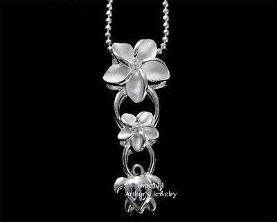 SILVER 925 HAWAIIAN SMALL LARGE PLUMERIA TURTLE PENDANT