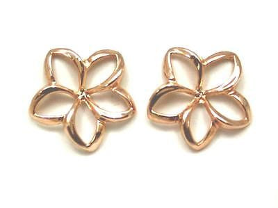 17MM 14K SOLID PINK ROSE GOLD HAWAIIAN SHINY OPEN PLUMERIA FLOWER POST EARRINGS