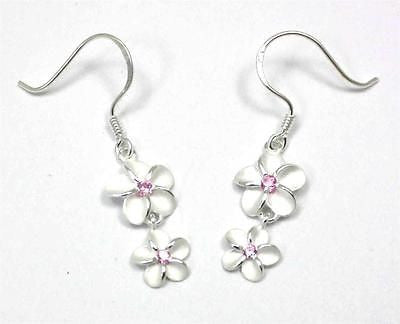 SILVER 925 HAWAIIAN PLUMERIA FLOWER 10MM DANGLE 8MM WIRE HOOK EARRINGS PINK CZ