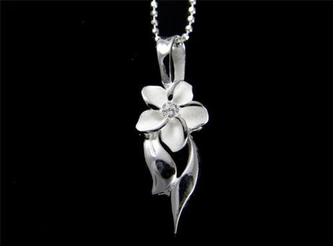 STERLING SILVER 925 HAWAIIAN 9MM PLUMERIA FLOWER SHINY DESIGN PENDANT CZ