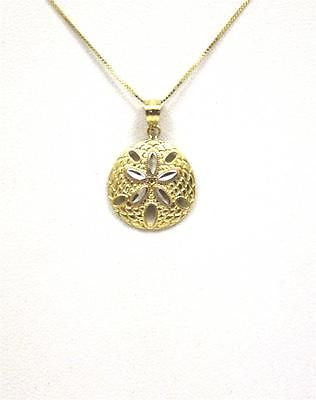 15MM 14K YELLOW GOLD HAWAIIAN SAND DOLLAR CHARM PENDANT WHITE GOLD DIAMOND CUT