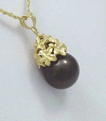 13.44MM TAHITIAN BLACK PEARL PENDANT 14K YELLOW GOLD PLUMERIA FLOWER DIAMOND