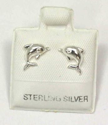 STERLING SILVER 925 SHINY HAWAIIAN BABY DOLPHIN STUD POST EARRINGS