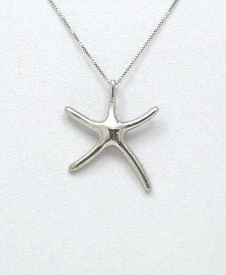14K SOLID WHITE GOLD MEDIUM SHINY HAWAIIAN OCEAN SEA STAR STARFISH SLIDE PENDANT