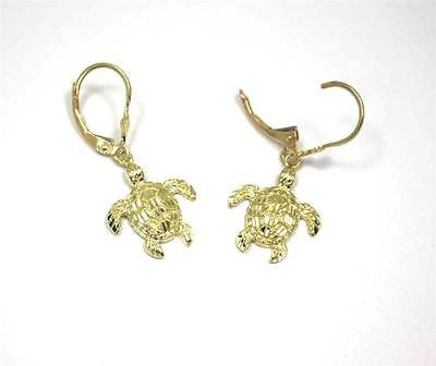 14MM 14K YELLOW GOLD SPARKLY DIAMOND CUT HAWAIIAN SEA TURTLE EARRINGS LEVERBACK