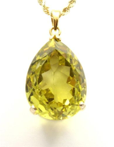 34.55CT GENIUNE 18MMX25MM TEARDROP LIME QUARTZ PENDANT IN 14K YELLOW GOLD