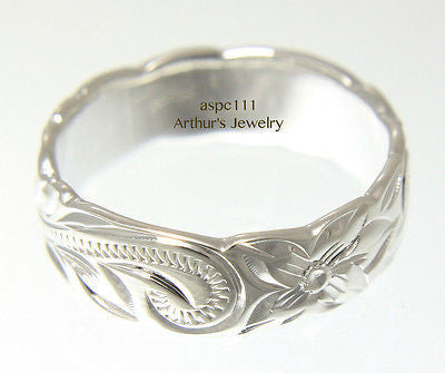 6MM STERLING SILVER 925 HAWAIIAN BAND RING PLUMERIA FLOWER SCROLL CUT OUT EDGE