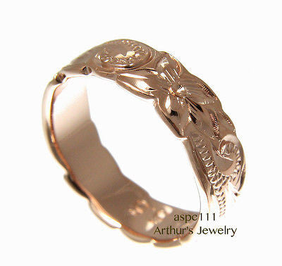 6MM PINK ROSE GOLD SILVER 925 HAWAIIAN RING PLUMERIA FLOWER SCROLL CUT OUT EDGE