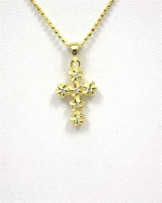 YELLOW SILVER 925 HAWAIIAN PLUMERIA FLOWER CROSS PENDANT CZ 11MM SMALL