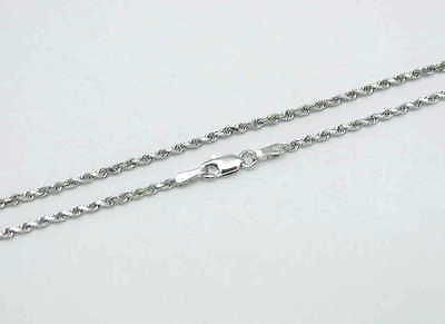 "2MM SOLID 14K WHITE GOLD DIAMOND CUT ROPE CHAIN NECKLACE 16"" 18"" 20"" 22"" 24"" 30"""