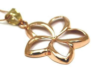 21MM SOLID 14K PINK ROSE GOLD HAWAIIAN POLISH SHINY OPEN PLUMERIA FLOWER PENDANT