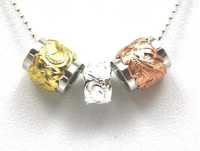 ROSE PINK YELLOW SILVER 925 HAWAIIAN PLUMERIA SCROLL DOUBLE BARREL BEAD SET