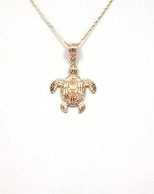 14K SOLID PINK ROSE GOLD SPARKLY DIAMOND CUT HAWAIIAN SEA TURTLE HONU PENDANT S