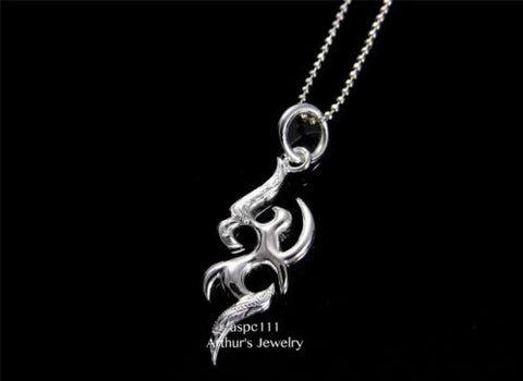 STERLING SILVER 925 HAWAIIAN SCROLL DESIGN FLAMES PENDANT
