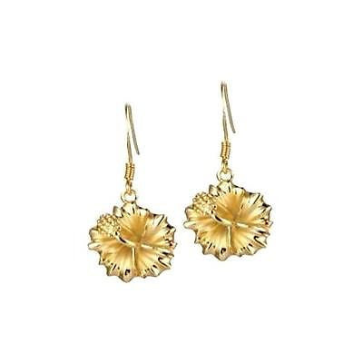 SILVER 925 YELLOW GOLD PLATED HAWAIIAN HIBISCUS FLOWER DANGLE EARRINGS HOOK 15MM