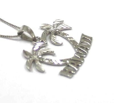 "SOLID 14K WHITE GOLD SMOOTH DIAMOND CUT PALM TREE ""HAWAII"" PENDANT"