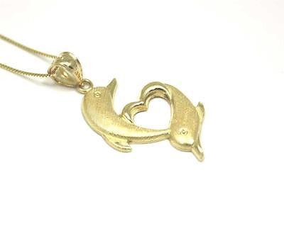 14K SOLID YELLOW GOLD HAWAIIAN DOLPHIN HEART DOLPHIN PENDANT CHARM