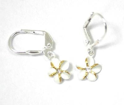 SILVER 925 HAWAIIAN PLUMERIA LEVERBACK EARRINGS CZ 8MM 2 TONE