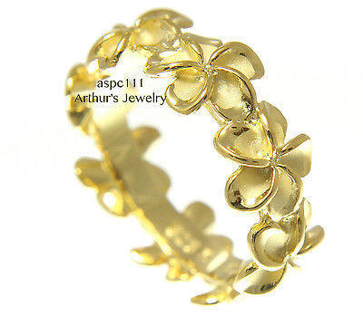 YELLOW GOLD PLATED SILVER 925 HAWAIIAN PLUMERIA FLOWER LEI BAND RING
