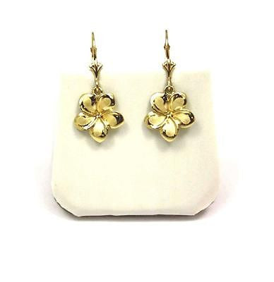 13MM SOLID 14K YELLOW GOLD HAWAIIAN FANCY PLUMERIA FLOWER EARRINGS LEVERBACK